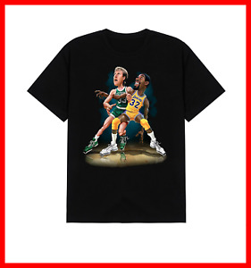 Magic Johnson Larry Bird Basketball Men Black Cotton T-shirt All Size TB506