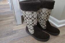 COACH KALLY SIGNATURE KHAKI CHESTNUT brown  leather mid calf BOOTS 6 B-flats