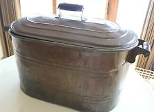 Vintage Antique Oval Copper Wash Tub Lid Laundry Boiler Ash Can Planter Rustic