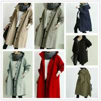 New Women Oversized Hooded Windbreaker Rain Jacket Loose Coat Trench Coat