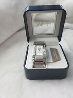 NEW Misaki Wristwatch Lustre Pearl Quartz Battery Stainless Steel Chain WatchNIB