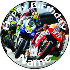 "Personalised MotoGP Bike Round Icing Cake Topper - Easy Pre-cut 8"" (20cm) Circle"