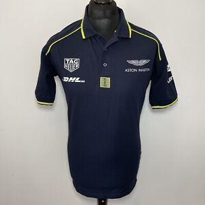 Dimensions Aston Martin Tag Heuer DHL Motorsport Blue Polo T Shirt Men's M NEW
