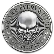 NEW ! ~ DEUCE HEAD  FOUR SKULL  ROUND ~ 2~OUNCES PURE .999 SILVER ~ $54.88 ~ BUY