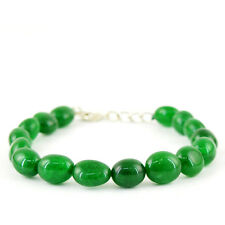 Shaped Rich Green Emerald Beads Bracelet Superb 147.40 Cts Earth Mined Oval