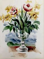 W. SEIDEL - Tulips And Daffodil Floral - Spring Flowers In Vase - 1947 - Signed