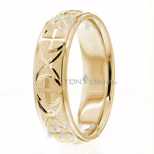 10K Gold 6.5mm Wedding Bands Religious Rings 10K Solid Gold, Size 4-13 Made USA