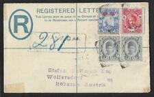 ZANZIBAR TO AUSTRIA REGISTERED FANTASTIC FRANKING COVER 1914