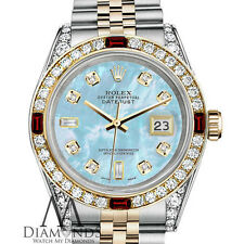 Ladies Rolex SS & Gold 26mm Datejust Baby Blue MOP 8+2 Dial Ruby Diamond Watch
