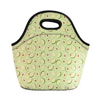 Avocado Design Lunch Bag Women Girls Portable Insulated Cooler Totes Picnic Bags
