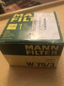 Mann W75/3 Oil Filter Spin On 50mm Height 76mm Outer Diameter Service