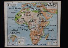 Rare carte scolaire vintage Afrique Physique 16 Vidal Lablache 1*1,2 m Sahara