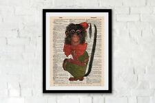 Monkey in a fez vintage dictionary art