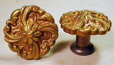 Ornate Cast Antique Brass Cabinet Drawer Door Pull Handle x2 Quality Restoration