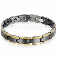 Men's Unique Black Gold Tone Ceramic Link Chain Magnetic Energy Charm Bracelet
