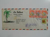 STAMP MART : NICARAGUA REGISTERED CHESS STAMPS COVER 1964 USED TO FL USA