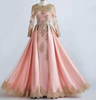 Beaded Gold Lace Long Sleeve Muslim Evening Dresses Pink Formal Prom Party Gown