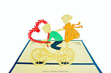 Innocent Lovers Cycle Bicycle 3D Pop Up Cards For Anniversary Valentine's Day