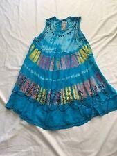 Artist Blue Pink & Purple Lagenlook Boho Tye-dye Dress Top,free size