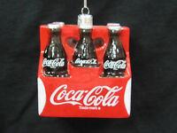 "Coca-Cola Ornament Glass ""6 pack""- Kurt Adler NIP"