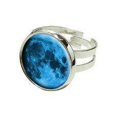 Blue Moon - Silver Plated Adjustable Novelty Ring
