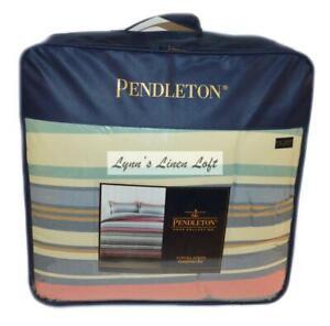 Pendleton Aurora Stripe Full/ Queen Comforter Set 3P Tan Multi Southwestern New
