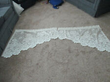 """Vintage Silky Ivory Floral Lace Swag Scallop hems Pair 76"""" wide x 32"""" Long USA"""