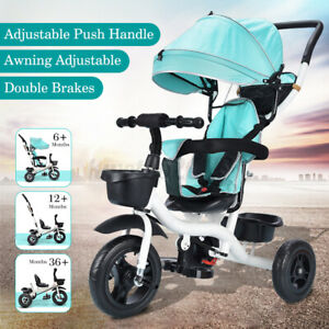 3-in-1 Baby Tricycle with Adjustable Push Handle Safety Harness Kids Stroller