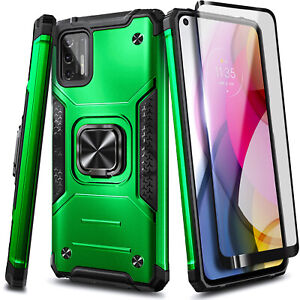 For Motorola Moto G Stylus (2021) Shockproof Ring Stand Case + Tempered Glass