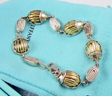 Tiffany & Co Rare 1993 Sterling Silver & 18k Yellow Gold Scarab Link Bracelet