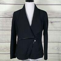 Anne Klein Asymmetrical Zippered Business Blazer Jacket  Black Size 8 $149 NWT
