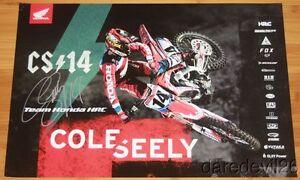 2017 Cole Seely signed Team Honda CRF450R AMA Supercross Motocross poster