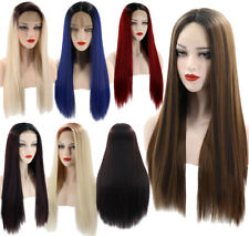 26'' Lace Front Ombre Long Straight Synthetic Hair Wigs Women Fashion Party Wigs