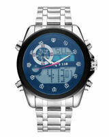 Mens Sport Watches Military Analog Quartz Digital Watch Stainless Steel Band Red