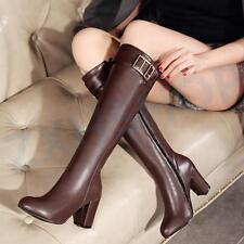 Winter Kniehohe Stiefel High Heels Volltonfarben Elegante Stiefel Frauenschuhe