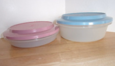 2 Vintage Tupperware Seal N Serve Bowls w/ Seals Country Pink & Blue Rare New