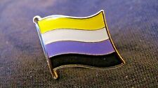 NON BINARY Flag Lapel Pin - Superior High Quality Gloss Enamel (LGBT Gay Pride)