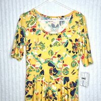 NWT LuLaRoe Nicole Womens Large Yellow Multicolor Floral Fitted Dress L