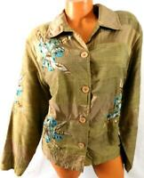 Coldwater creek beige floral embroidered beaded button down blazer jacket PXL