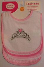 New Luvable Friends Pink White Heart Little Princess Crown Feed Waterproof Bibs