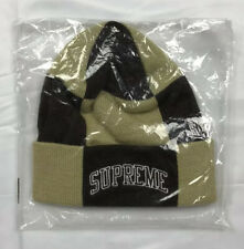 Supreme FW19 Tan Checkerboard Beanie Skully DS New In Bag OS Authentic Genuine