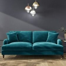 Teal Blue Velvet 3 Seater Sofa Stylish Couch Lounge Plush