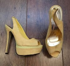 SIZE 5 YELLOW FAUX SUEDE STILETTO HEEL SHOES SUMMER/HOLIDAY/TOWIE/CLUBBING/IBIZA
