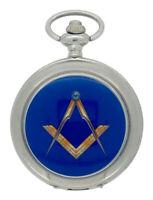 New Freemason Masonic Quartz Silver Case Pocket Watch and Chain Boxed