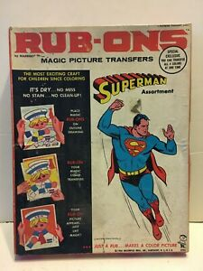 Vintage 1964 Superman Magic Rub-Ons Picture Transfers Hasbro + additional items
