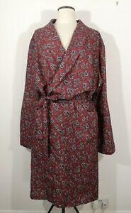 Vintage Tootal Mens Dressing Gown Smoking Jacket Red Paisley XL Dandy Man Cave