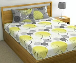 100% Cotton Multicolor 1 Pc Double Bedsheet with 2 Pillow Covers Set Of 144 TC