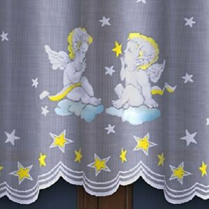 CHRISTMAS DECORATION SEASONAL STYLISH CAFE NET CURTAIN-ANGELS-SOLD BY METERS