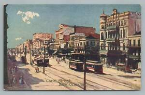 Canal Street Painting~Antique NEW ORLEANS Postcard Troilene WG Macfarlane 1910s