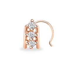Sterling Silver 14K Rose Gold Finish Three Stone Women'S Nose Pin Cubic Zirconia